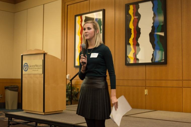 Zoe Byurn hosts GVSU Idea Pitch Competition